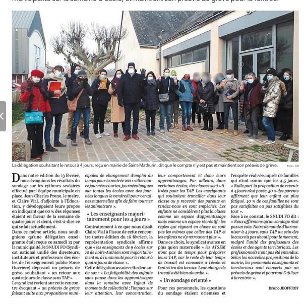 article courrier de l'ouest Loire-Authion 22 février 2021